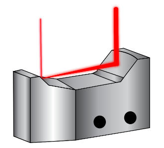 Figure 9: Unlike transmissive beam expanders, the curved mirrors of this Monolithic Reflective Beam Expander expand the incident laser beam