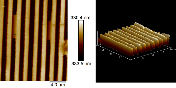 Figure 2: Topography map of a grating captured using atomic force microscopy